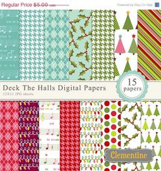 Clementine Digitals - Deck the Halls Christmas digital paper, christmas digital scrapbooking paper 12x12, royalty free paper- Instant Download. $3,00, via Etsy.