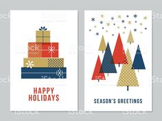 Christmas Greeting Cards Collection - Illustration royalty-free stock vector art