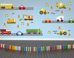 Coches calcomanía construcción pared calcomanía por YendoPrint