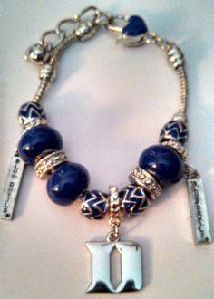 Duke University Blue Devils Silver Bracelet by BeadsandMoretoo