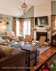 A Family Room Makeover Eclectic Family Room. Love The Curtains And Rod  Placement Next To