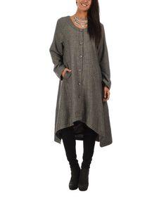 This Gray Wool-Blend Asymmetrical-Hem Coat is perfect! #zulilyfinds