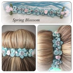 Spring Blossom ribbon bun wrap  flower bun crown by PrimaBunDesign