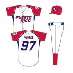 Puerto Rico  Home Uniform (2009) - Puerto Rico in red on white uniform with red sleeves, red and blue piping, and blue underarm gussets