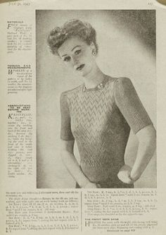 'When You're ''Off Duty'' ' Jumper From Woman's Weekly 1940s. I love the neckline of this one! #40s #knitting #pattern