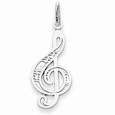 Music Note Pendant Jewels By Lux 14K White Gold Treble Clef Note 2D and High Polish