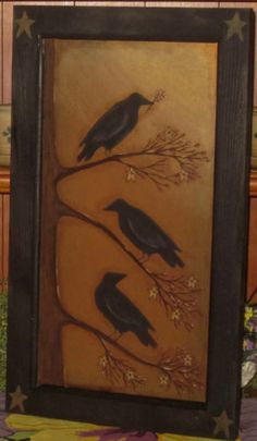 Primitive HP Folk Art Crow Sitting on Branches Stars Berries Door Panel Primitive Fall, Primitive Folk Art, Primitive Crafts, Stencil Painting, Tole Painting, Painting On Wood, Painted Floor Cloths, Folk Art Flowers, Primitive Painting