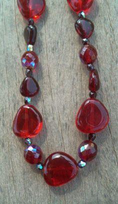 Collar Cristal de Bohemia Rojos, Regalo para Navidad Oferta Especial