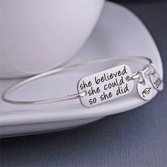 She Believed She Could So She Did - This inspirational quote bracelet is the perfect gift for graduations, promotions, and more! Shop jewelry at Love, Georgie. Graduation Jewelry, Nursing Graduation, Graduation Gifts, Graduation Ideas, Jewelry Shop, Jewelry Gifts, Yoga Jewelry, Fine Jewelry, Handmade Jewelry