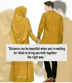 Distance is beautiful when you wanting for Allah to bring you both together the right way. Muslim Couple Quotes, Muslim Love Quotes, Cute Muslim Couples, Couples Quotes Love, Love In Islam, Love Husband Quotes, Islamic Love Quotes, Islamic Inspirational Quotes, Cute Love Quotes