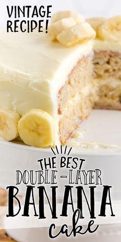Banana Bread Recipe With Cream Cheese, Moist Banana Cake Recipe, Cream Cheese Recipes, Banana Bread Recipes, Easy Cake Recipes, Frosting Recipes, Yummy Recipes, Banana Cream Cakes, Banana Walnut Cake