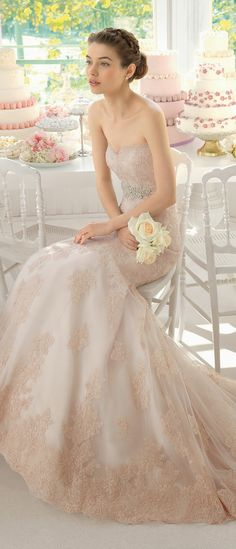 Pink wedding gown - Aire Barcelona 2015 Bridal Collection