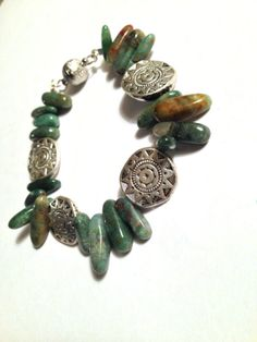 Green African Jade and Mexico Silver Coin by MoonShadowNYC on Etsy, $42.00