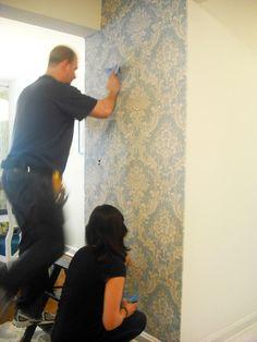 blue damask wallpaper added to foyer / entry way / hallway by Ada Gonzalez