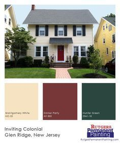 exterior house painting new jersey. cheerful yellow siding is matched with a bright red door and deep green shutters on this inviting center-hall colonial home in glen ridge, new jersey. exterior house painting jersey y