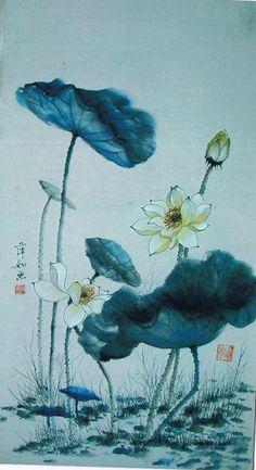 Chinese brush painting flowers