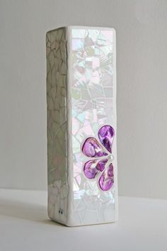 Mosaic Vase purple and white
