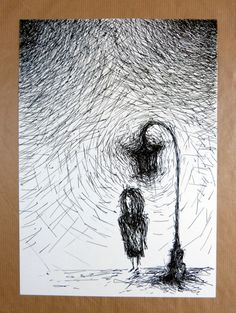 The Light Spot / ink pen free hand drawing by radanam on Etsy