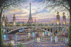 Paris Memories (Eiffel Tower) , Robert Finale by Thomas Kinkade Inspiration Art Gallery