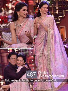 Deepika Padukone Chiffon Border Work Printed Pink Bollywood Style Saree - 487 at Rs 1749