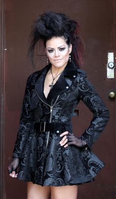 Vintage style black gothic long Tapestry Motorcycle jacket from Shrine.  If I had an extra 400 bucks... and it it was ever cold here...  I love Shrine stuff :-)