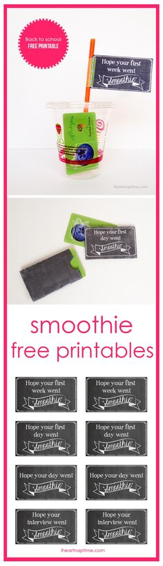 Free printable smoothie gift card holders and tags. Such a cute and easy gift idea!