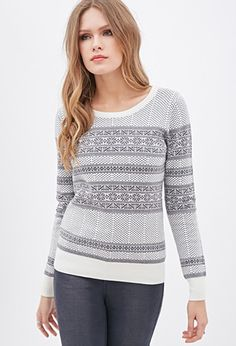 Contemporary Fair Isle Crew Neck Sweater | LOVE21 - 2000059916