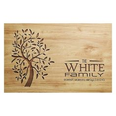Our family name cutting boards are a great gift for any occasion. Personalised Chopping Board, Personalized Cheese Board, Engraved Cutting Board, Personalized Gifts, Wooden Bread Board, Wooden Chopping Boards, Bamboo Cutting Board, Name Plaques, Tree Designs