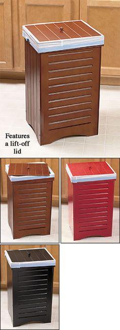 Maple Wooden Kitchen Trash Bin Garbage Can