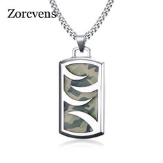 Mens Camouflage Necklace Stainless Steel Punk Geometry Necklaces Pendants Chain 24 Male Party Jewelry #men'sjewelry
