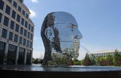 Metalmorphosis is a 14 ton stainless steel kinetic sculpture and fountain located in a business park on Arco Corporate Drive in Charlotte, NC. The giant head. Art Connection, Kinetic Art, Metalhead, More Pictures, 30, Sculpture Art, Contemporary Art, Around The Worlds, Waves