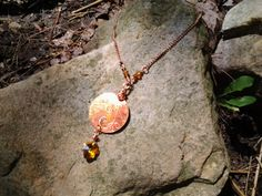 etched copper pendant with glass leaf charm