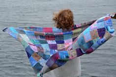 Memories tied into making the mitred squares blanket and memories of standing looking at the sea from Mavis Grind the narrowest point on Shetland...