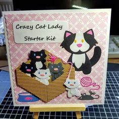 Cat Card using Marianne Design Cat and baby animal dies