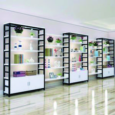 Source wholesale miniso style price of supermarket shelves,supermarket metal shelves,supermarket clo Boutique Interior, Showroom Interior Design, Furniture Showroom, Shop Shelving, Metal Shelving Units, Display Shelves, Wall Shelves, Clothing Store Displays, Clothing Store Design