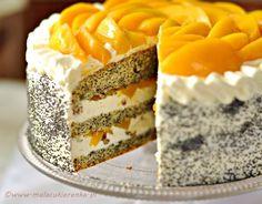 Use Google Translate!   tort makowy z brzoskwiniami. (Poppy Seed Cake With Peaches)