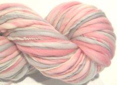 Handspun Yarn Henrietta Hippo 44 yds grey pink white hand dyed merino wool waldorf doll hair knitting supplies