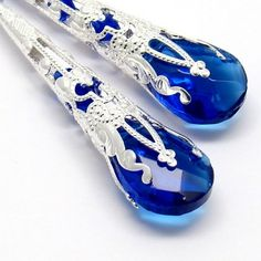 Love the blue drama:  Long Earrings,Cobalt Briolette Crystal,Filigree Silver Cones Earrings | MartakyArt - Jewelry on ArtFire