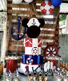 Sailor Birthday, Sailor Party, Mickey Party, Mickey Mouse Birthday, Baby Birthday, First Birthday Parties, Nautical Mickey, Nautical Party, Mickey Mouse Marinero