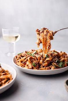 Vegan Puy Lentil Ragu Tagliatelle Pasta #vegan #recipe #pasta #lentils