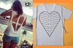 Ideen zu Hemd in Chic Refashion (Tshirt Diy Ideas) Diy Cut Shirts, Old Shirts, T Shirt Diy, Cut Shirt Designs, Cut Up T Shirt, Refashioning, Creation Couture, Clothing Hacks, Sewing Clothes
