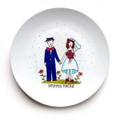 Assiette décorative • Heureux mariage - Cadeau peint à la main par l'artiste Isabelle Malo - http://www.isamalo.com