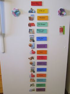 A visual daily routine/rhythm chart made with laminated paint cards and photos of my children.