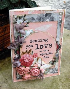How to Make a Card Using Kaisercraft Ma Cherie A Snapguide tutorial, My Crafty Madness My Scrapbook, Scrapbook Layouts, Card Creator, Shabby Chic Cards, Mixed Media Canvas, Card Tags, Card Designs, Flower Cards, Vintage Cards