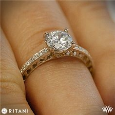 Ritani Lattice Micropave Diamond Band Engagement Ring in rose gold or white gold.