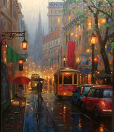 CITY LIGHTS - a compilation painting from some of my favorite places - Paris, San Francisco, and others.