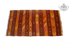 Tribal Orange Embroidered Cicim Kilim Rug by AnatoliaCollection