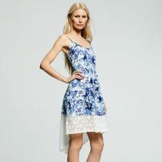 This is on Khols, you could order it online. Peter Som for DesigNation Hi-Low Hem Splatter Dress - Women's Little Dresses, Blue Dresses, Summer Dresses, Cheap Designer Clothes, Kohls Dresses, Designer Collection, Lace Dress, Fashion Design, Fashion Trends