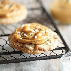 This recipe for Salted Caramel Cookies is an easy homemade recipe made with sugar cookies, crushed pretzels, sweetened condensed milk and sea salt!