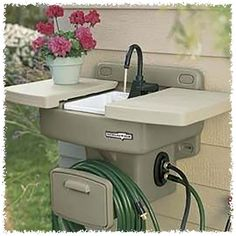 """""""Water Station Plus Outdoor Sink -- Mounts securely to exterior wall for all grilling, gardening, hand-washing, and everyday clean-up tasks. When the Water Station Plus is closed it functions as a work or storage shelf. Outdoor Fun, Outdoor Spaces, Outdoor Living, Outdoor Ideas, Outdoor Kitchens, Outdoor Camping, Backyard Camping, Outdoor Stuff, Lawn And Garden"""